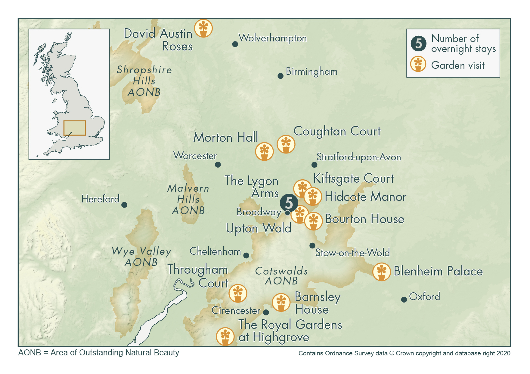 Cotswolds Exclusive with Highgrove Map